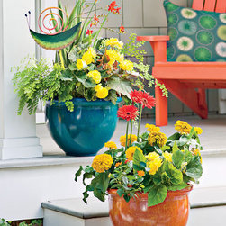 Self Watering Marbled Bowl Planters - Colorful planters are so fun to use outdoors (and in) for adding color and a happy vibe to the porch or deck. Move them around for versatility.