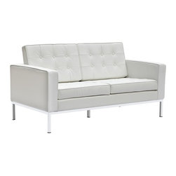 Lemoderno - Fine Mod Imports  Button Loveseat in Leather, White - A modernist fan's dream, Ultra modern and made with soft genuine leather all over     Assembled
