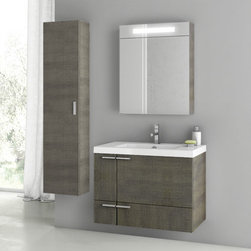 ACF - 31 Inch Grey Oak Bathroom Vanity Set - This four piece vanity set was made in Italy by designer ACF. Utilizing a contemporary design, this set includes a 31 inch vanity cabinet, bathroom sink, mirrored medicine cabinet and tall storage cabinet. Part of the ACF New Space collection, the set mounts to your bathroom wall, ideally in a master bathroom setting. Set Includes:. Vanity Cabinet (2 Doors,1 Drawer). High-end fitted ceramic sink. Wall mounted medicine cabinet. Tall storage cabinet. Vanity Set Features . Vanity cabinet made of engineered wood. Cabinet features waterproof panels. Vanity cabinet in grey oak finish. Cabinet features 2 doors, 1 soft-closing drawer. Faucet not included. Perfect for modern bathrooms. Made and designed in Italy. Includes manufacturer 5 year warranty.