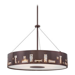 Kovacs - Kovacs P1093-631 5 Light Drum Pendant in Chocolate Chrome from the Bling Bang Co - Five Light Drum Pendant in Chocolate Chrome from the Bling Bang CollectionFeatures:
