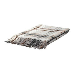 Hermine Throw, Beige/Brown - How about mixing plaids? This throw would be perfect to wrap up in while snuggled into a plaid chair.