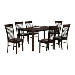"CBBrea - 7-Piece Brea Collection Espresso Finish Wood Dining Table Set - 7-Piece Brea collection espresso finish wood dining table set with slat back chairs and leather like seats. This set includes the table with tapered legs and 6 side chairs upholstered with fabric seats and slat backs. Table measures 32"" x 56"" X 30"" H. Chairs measure 38"" H to the back. Some assembly required."