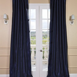 Lunar Blue Vintage Textured Faux Dupioni Silk Curtain - Our Vintage Textured Faux Silk curtains & drapes have a slight sheen that mimics the finest texture of silk dupioni. These curtains bring the look of luxury without the cost or high-maintenance care. Built-in are two header designs within a single panel. The attached back tabs for a formal pleated look and a traditional pole pocket.