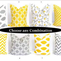 ElemenOPillows - Grey and Yellow Pillow Cover Set