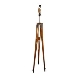 """Used Surveyor Tripod Floor Lamp - Industrial strength wooden surveyor tripod as floor lamp. Standing atop steel ground spikes, solid oak legs lead to a galvanized steel platform that has been fitted with 3-way light socket. With a 8"""" harp and wooden ball finial, this lamp has been professionally wired with all components UL approved. The surveyor tripod was manufactured by Fennel Kassel of West Germany. Shade not included."""