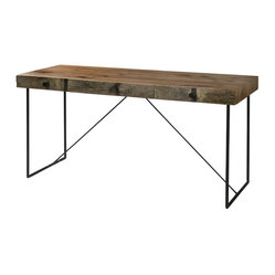 Four Hands - Wright Desk - Rough, refined and flat-out stylish. Streamlined for a contemporary look, this desk offers a sophisticated blend of wood and black iron hardware. A generous worktop and three drawers complete the package.