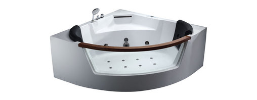 EAGO - EAGO AM197 5' Rounded Clear Modern Corner Whirlpool Bath Tub with Fixtures - We are very excited to offer you this breath taking AM197 EAGO whirlpool bath tub! The design has changed the concept of bathtubs to something like a 'pool' and makes you feel so close and intimate with water. It will release your natural deep desire for the basic element of life; H2O.This tub features a beautiful design which will add the finishing touches to any bathroom. We are confident that you will indulge in a state of complete relaxation and tranquility with all the features that this tub has to offer. Be prepared to purchase luxury at its finest!