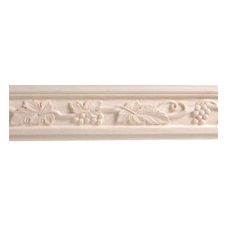 Moldings, Trim & Brackets - 8 Foot X 3 3/16 Inch Grape Chair Rail Molding: Hand carved chair rails are part of the Legacy collection of moldings, corbels, and appliques. Offered in five domestic wood types, the chair rails feature incredible craftmanship and quality. Shipped ready to paint or stain.