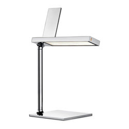 Flos Lighting - DE-Light Table Lamp with Lightning Connector - D'E-Light LED desk lamp includes a charging device for various portable devices with a chrome-plated finish. Head in aluminum, stem in extruded aluminum, base in zamak to increase stability. Optical ON/OFF switch with Soft Touch technology (TM) and light flow adjustment to 2 intensities. Lighting is by means of a specially designed Light Guide, providing an optimally oriented light flow that affords unrivaled lighting comfort. The efficiency of this innovative lighting system, of 98%, means that the LEDs can be used at full power with no significant energy loss. Compatible with iPhone 5 and later, iPad Retina Display, or iPad Mini.  One 5 watt, 120 volt LED module is included.  8.5 inch width x 12.48 inch height.