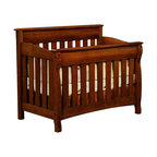 Chelsea Home Furniture - Chelsea Home Cambridge Crib in Asbury Brown Stain - As children go through stages as they grow, so should their furniture. The Cambridge Convertible Crib Set, shown in White Quartersawn Oak and Asbury Brown stain, is a solid wood 3-stage bed system that is constructed with quality and durability to transition any newborn into adulthood with simplistic sophistication. The curved slats and feet compliment the stream line sides of crib. This CPSC 16 CFR 1219 and 1220 compliant convertible piece is complete with guard rail and 3-level mattress support, and simple transition instructions to keep your child resting easy and comfortable. Chelsea Home Furniture proudly offers handcrafted American made heirloom quality furniture, custom made for you. What makes heirloom quality furniture? It's knowing how to turn a house into a home. It's clean lines, ingenuity and impeccable construction derived from solid woods, not veneers or printed finishes over composites or wood products _ the best nature has to offer. It's creating memories. It's ensuring the furniture you buy today will still be the same 100 years from now! Every piece of furniture in our collection is built by expert furniture artisans with a standard of superiority that is unmatched by mass-produced composite materials imported from Asia or produced domestically. This rare standard is evident through our use of the finest materials available, such as locally grown hardwoods of many varieties, and pine, which make our products durable and long lasting. Many pieces are signed by the craftsman that produces them, as these artisans are proud of the work they do! These American made pieces are built with mastery, using mortise-and-tenon joints that have been used by woodworkers for thousands of years. In addition, our craftsmen use tongue-in-groove construction, and screws instead of nails during assembly and dovetailing _both painstaking techniques that are hard to come by in today's marketpla