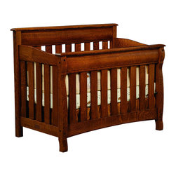 Chelsea Home Furniture - Chelsea Home Cambridge Crib in Asbury Brown Stain - As children go through stages as they grow, so should their furniture. The Cambridge Convertible Crib Set, shown in White Quartersawn Oak and Asbury Brown stain, is a solid wood 3-stage bed system that is constructed with quality and durability to transition any newborn into adulthood with simplistic sophistication. The curved slats and feet compliment the stream line sides of crib. This CPSC 16 CFR 1219 and 1220 compliant convertible piece is complete with guard rail and 3-level mattress support, and simple transition instructions to keep your child resting easy and comfortable. Chelsea Home Furniture proudly offers handcrafted American made heirloom quality furniture, custom made for you. What makes heirloom quality furniture? It's knowing how to turn a house into a home. It's clean lines, ingenuity and impeccable construction derived from solid woods, not veneers or printed finishes over composites or wood products _ the best nature has to offer. It's creating memories. It's ensuring the furniture you buy today will still be the same 100 years from now! Every piece of furniture in our collection is built by expert furniture artisans with a standard of superiority that is unmatched by mass-produced composite materials imported from Asia or produced domestically. This rare standard is evident through our use of the finest materials available, such as locally grown hardwoods of many varieties, and pine, which make our products durable and long lasting. Many pieces are signed by the craftsman that produces them, as these artisans are proud of the work they do! These American made pieces are built with mastery, using mortise-and-tenon joints that have been used by woodworkers for thousands of years. In addition, our craftsmen use tongue-in-groove construction, and screws instead of nails during assembly and dovetailing _both painstaking techniques that are hard to come by in today's marketplace. And with a wide array of stains available, you can create an original piece of furniture that not only matches your living space, but your personality. So adorn your home with a piece of furniture that will be future history, an investment that will last a lifetime.