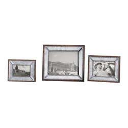 Uttermost - Daria Antique Mirror Photo Frames Set of 3 - Display those special photos in these sophisticated frames made of antiqued, beveled mirrors accented with an aged pecan stained solid wood outer frame. Holds photo sizes:4x6, 5x7 & 8x10. Sizes: Sm-6x8x1, Med-8x10x1, Lg-12x14x1.