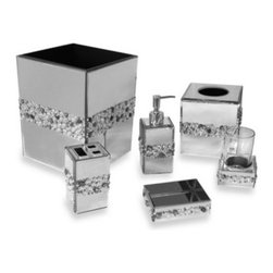 Elite Home Fashion, Llc - Harlow Wastebasket - This mirrored bath ensemble is decorated with acrylic beads in a beautiful motif. Unique bath ensemble will enhance and brighten your bathroom and coordinates well with both modern and traditional bathroom decor.
