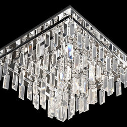 Lite Source - Lite Source EL-50115 Helanie Modern / Contemporary Flush Mount Ceiling Light - Delicate panel crystal shades feature staggered prism curtain with modern chrome finish metal frame brings an exquisite illumination to any setting.