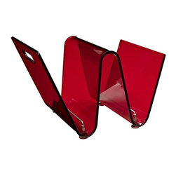 Modway - Current Magazine Holder in Red - There are three primary reasons for why this magazine holder was named Current. For one, its wave-like transparent red acrylic sheet resembles the ocean tide. But perhaps more integral to the functionality of the design, is that the piece is not simply another storage unit. Current encourages you to keep up-to-date with your favorite periodicals, without needing to pile them away for the long-haul. So what then of the third reason? Its an energetic little piece, filled with vigor. While you appreciate having somewhere to place your reading material, it shouldnt come at the expense of style.