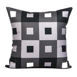 "LaCozi - ""A-Pex"" Black, White and Gray Throw Pillow - Squares have never been so cool! This eye-popping pillow will make a style statement on your sofa, and it's quality crafted with double-stitched seams to really go the distance in your decor."