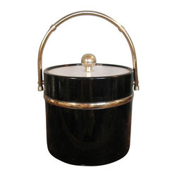 Used Hollywood Regency Patent Leather Ice Bucket - What a hot piece to add to your bar cart! This classic Gentry ice bucket will add style for all your serving needs. The bucket features plastic/patent leather with gold/lucite detailing. Please note, there is some wear to the lid knob.    Dimensions: 11″h (w/ handle) 7″h (w/out handle) x 7.75″dia