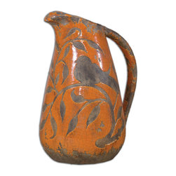 Uttermost - Som Ceramic Vase - Ornate, ceramic vase with a bird and vine design features a heavily distressed, crackled, bright orange finish with antique khaki undertones.