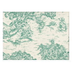 "Close to Custom Linens - 90"" Tablecloth Round Toile with Stripe Topper Pool Blue-Green - A charming traditional toile print in pool blue-green on a cream background. Includes a 90"" round cotton tablecloth."