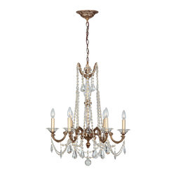 "Crystorama - Delancey Chandelier - Roman Bronze Chandelier. Takes 6 - 60 w/c bulbs. Chain: 72"" Wire: 120"""