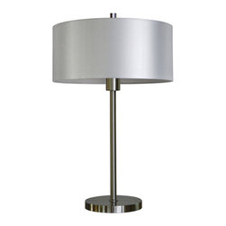 YOSEMITE HOME DECOR - 1 Light Portable Table Lamp in Satin Steel Finish with Pristine White Shade - - 26 Inch Portable Table Lamp