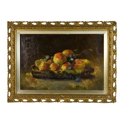 Lavish Shoestring - Consigned Colourful 19th Century Victorian Still Life of Peaches & Grapes - This is a vintage one-of-a-kind item.