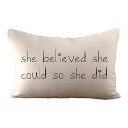 'She Believed She Could So She Did' Pillow With Insert - Hemp/ organic cotton