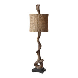 Uttermost - Uttermost 29163-1 Driftwood Body Lamp with Natural Twine Shade from the Driftwoo - Uttermost 29163-1 Billy Moon Driftwood Buffet LampWeathered driftwood finish with a matching finial and a matte black base. The round drum shade is natural twine with an open weave construction and off white inner liner.Features: