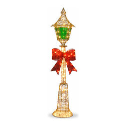60 In. Gold Lamp Post w/ Red Bow & 85 Clear Indoor/Outdoor Lights - Measures 60 inch high. Indoor or outdoor use. Pre-lit with 85 UL listed Clear lights.