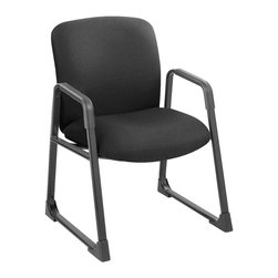 Safco - Uber Guest Chair in Black - Deep seat with thick cushioned foam. Fully upholstered. 100% polyester upholstery. Built in arm pads. Meets ANSI/BIFMA and FNEW industry standards. Weight capacity: 500 lbs.. Made from 16 gauge steel frame and nylon. Seat Size: 23 in. W x 20.5 in. D. Back Size: 22.5 in. W x 19.5 in. H. Seat Height: 19.5 in.. Overall: 27.25 in. W x 29.5 in. D x 35.75 in. H (43 lbs.). Assembly InstructionGet the sit that fits! Uber is great for life's varying shapes, sizes and working environments. Police officers, carpenters and utility workers all wear belts that can get in the way of a comfortable seat, but not with Uber! Uber can be used for guest seating, in shared spaces such as break rooms or any office area that needs a comfortable seat.