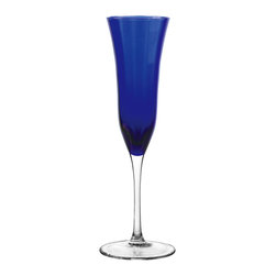 Qualia - Meridian Cobalt Flutes, Set of 4 - Bring a pop of vibrant color to your kitchen with the Meridian Cobalt Flutes. Slim and tall, these glasses are perfect for champagne drinking. The clear stems and blue flutes give the glasses a sleek, bold look that pairs well with contemporary decor. Dishwasher safe.