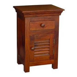 YOSEMITE HOME DECOR - Accent Side Chest - This solid mango storage chest features one faux shutter door. One top drawer and  an open bottom provide for ample storage space. Shown in a soft fruitwood finish w/color matching wood knobs. Assembled and made in India.    Item Dimension in 18inches Width X 14inches Depth X 26inches Height