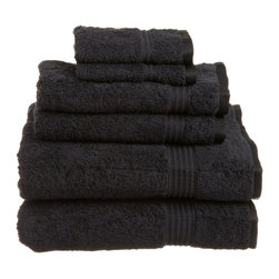 Superior Egyptian Cotton 6pc Black Towel Set - These towels are super soft and absorbent!  Treat yourself to a beautiful towel set for an easy way to revitalize your bath d cor. Towel Set includes: Two Bath Towels 30x54 each, Two Hand Towels 16x30 each, Two Face Towels 13x13 each.