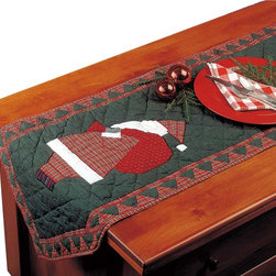 Renovators Supply - Table Cloths Colored Cotton Santa Table Cloth 72'' L x 17'' - Santa Table Runner 72 in. L x 17 in. W. This 6 foot long santa table runner is hand quilted from 100 percent cotton holiday patterned fabric.  It measures 72 in. Long x 17 in. Wide.