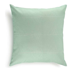 Mediterranean 100% Turkish Cotton Pillow Covers, Mint - This pillow cover will add a marvelous touch of the Mediterranean to your interior. Crafted from the finest 100% Turkish cotton (that's the good stuff), it has a printed geometric pattern inspired by the Volcanic landscape of Santorini, an island in the Aegean Sea.