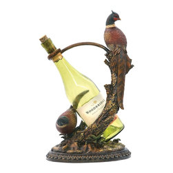 Sterling Industries - Sterling Industries Autumn Pheasant Wine Holder X-0734-19 - From the Autumn Pheasant Collection, this Sterling Industries wine holder is an elegant addition to any cellar, wet bar or kitchen setting. Multiple pheasants and a traditionally detailed base are paired with life-like detailing and traditional colors. A curvilinear hook supports your favorite bottle.
