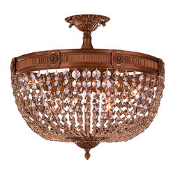 """Worldwide Lighting - Winchester 6 Light French Gold & Golden Teak Crystal 20"""" Round Semi-Flush Ceilin - This stunning 6-light Semi-Flush-mount only uses the best quality material and workmanship ensuring a beautiful heirloom quality piece. Featuring a cast aluminum base in french gold finish and all over golden teak (translucent champagne color) crystal embellishments made of finely cut premium grade 30% full lead crystal, this flush mount will give any room sparkle and glamour. Worldwide Lighting Corporation is a privately owned manufacturer of high quality crystal chandeliers, pendants, surface mounts, sconces and custom decorative lighting products for the residential, hospitality and commercial building markets. Our high quality crystals meet all standards of perfection, possessing lead oxide of 30% that is above industry standards and can be seen in prestigious homes, hotels, restaurants, casinos, and churches across the country. Our mission is to enhance your lighting needs with exceptional quality fixtures at a reasonable price."""