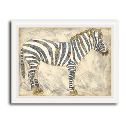 MonDeDe - Royal Zebra - A hand-assembled wood frame surrounds this giclee. Printed on archival-quality paper, it's guaranteed not to fade for 200 years—which literally ensures its existence for generations to come. The fanciful stripes on the zebra allow you to mount it on the wall in a bedroom, living or dining room, or even in a guest bathroom.