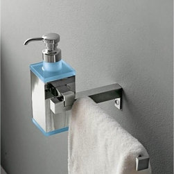 Toscanaluce - Wall Mounted Square Brass Soap Dispenser with Towel Rail - Stylish, contemporary design wall mounted square soap dispenser with towel bar. Wall gel dispenser with towel bar is made out of brass with a polished chrome finish and plexiglass with a blue, green, black, orange, light blue, white, or pink finish. Square wall hung lotion dispenser with towel bar for the bathroom. Made in Italy by Toscanaluce. Stylish, contemporary style wall hung square lotion dispenser with towel rail. Wall hand soap dispenser with towel bar made out of brass with a polished chrome finish and plexiglass with a blue, green, black, orange, light blue, white, or pink finish. Square wall mounted gel dispenser with towel rail for the bathroom. From the Toscanaluce Eden Collection.