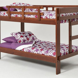 Chelsea Home - 42 in. Twin Over Twin Bunk Bed - NOTE: ivgStores DOES NOT offer assembly on loft beds or bunk beds.. Mattresses not included. Rustic style. Hand stain finished with three steps process to compliment the natural wood grain. Rails will connect to the bed ends by a 3.5 in. lag bolt for strength. Meet and exceed all of the following rules: ASTM F-1427-07, CFR 1213, CFR1513 and lead testing. Constructed for strength and durability. Warranty: One year. Made from solid plantation-grown pine wood. Dark finish. Made in USA. Assembly required. 81 in. L x 42 in. W x 56 in. H (165 lbs.). Bunk Bed Warning. Please read before purchase.Warning: Falling hazard, bunk beds should be used by children 6 years of age and older!