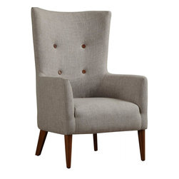 TOV Furniture - Aspen Chair in Beige Linen - Complete your living space with comfortable accent chair with impressive craftsmanship. Entirely handmade of kiln dried wood, solid Beech wood legs with matching tufted buttons, and high density foam cushion for long lasting support and comfort.