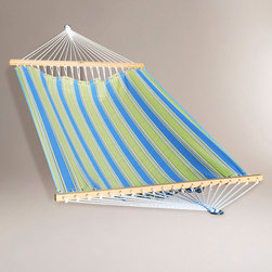 World Market - Green and Blue Stripe 2 Person 13' Fabric Hammock - Stretch out with a friend in our roomy and inviting 2 Person 13' Fabric Hammock in green and blue stripe. Made from weather-resistant spun polyester fabric, our durable 2 Person Fabric Hammock will last you many relaxing summers. Makes a great gift for dads, grandfathers and anyone who loves to kick back and hang out.