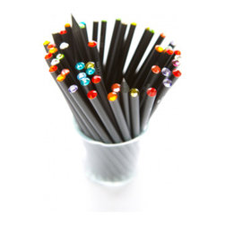 Crystal Pencil Set of 3 - These sleek black pencils topped with assorted crystals would be a colorful way to fill a pencil cup.
