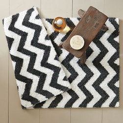 "Tribal Bath Mat | west elm - Let's face it: Most bath mats are a real snooze. Turn that around with this chevron tribal print one. Now your eyes will thank you along with your bare feet.• 100% cotton.• Graphic chevrons refresh the bath in a graphic, modern palette.• Plush and soft underfoot.• 20""l x 30""w."