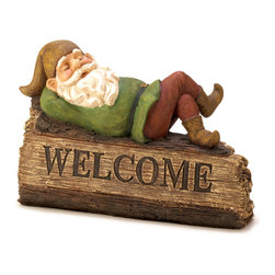 KOOLEKOO - Sleepy Gnome Welcome Sign - You'll always feel right at home when you're welcomed by your very own gnome! This sleepy fellow adds a whimsical touch to this folksy faux wood garden sign.