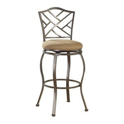 Hillsdale Hanover 30 in. Swivel Bar Stool - Brown Powder Coat - The Hillsdale Hanover 30 in. Swivel Bar Stool is a sleek classic stool that will give character to any bar space or kitchen nook. This unique stool features sturdy steel construction with a beige microfiber seat cushion that's built for durability and comfort. A rich brown powder-coat finish and a lattice back design add just the right amount of detail. For residential use this swivel bar stool measures 21.5W x 21.5D x 43.5H inches seat height: 30 inches. Please note: This item is not intended for commercial use. Warranty applies to residential use only. About Hillsdale FurnitureLocated in Louisville Ky. Hillsdale Furniture is a leader in top-quality affordable bedroom furniture. Since 1994 Hillsdale has combined the talents of nationally recognized designers and globally accredited factories to bring you furniture styling and design from around the globe. Hillsdale combines the best in finishes materials and designs to bring both beauty and value with every piece. The combination of top-quality metal wood stone and leather has given Hillsdale the reputation for leading-edge styling and concepts.