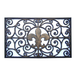 A1 Home Collections - Fleur-de-lis Rubber Doormat - This stylish doormat makes a perfect addition to any porch,patio area or door. Use this mat to catch dirt or as decoration.