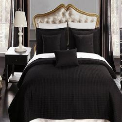 Bed In A Bag - RT 6pc Luxury Black Checkered Quilted Wrinkle Free Microfiber Coverlet Set - Experience the comfort and soft touch feel as if these linens were made from Egyptian Cotton. This Coverlet Set is made of 100% high strength Microfiber wrinkle free yarns that will stay soft for years to come.  Machine Washable