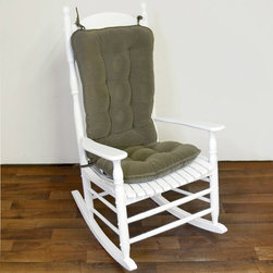 None - Willow Green Ribbed Microfiber Jumbo Rocking Chair Cushion Set - In a soft willow green and featuring a tufted surface, this rocking chair cushion set will add beauty and comfort to your seat. Including both a seat cushion and back cushion, this set is reversible and can be spot cleaned to maintain its loveliness.
