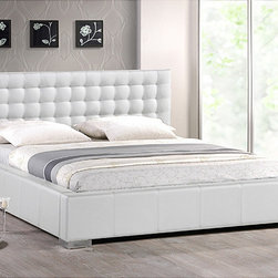 Baxton Studio - Madison White Modern King-size Bed with Upholstered Headboard - Do not settle for any less than the best when it comes to a good night's rest. This king-sized platform bed is made with an engineered wood frame and contemporary white faux leather upholstery,which is softened with an underlying layer of foam padding.